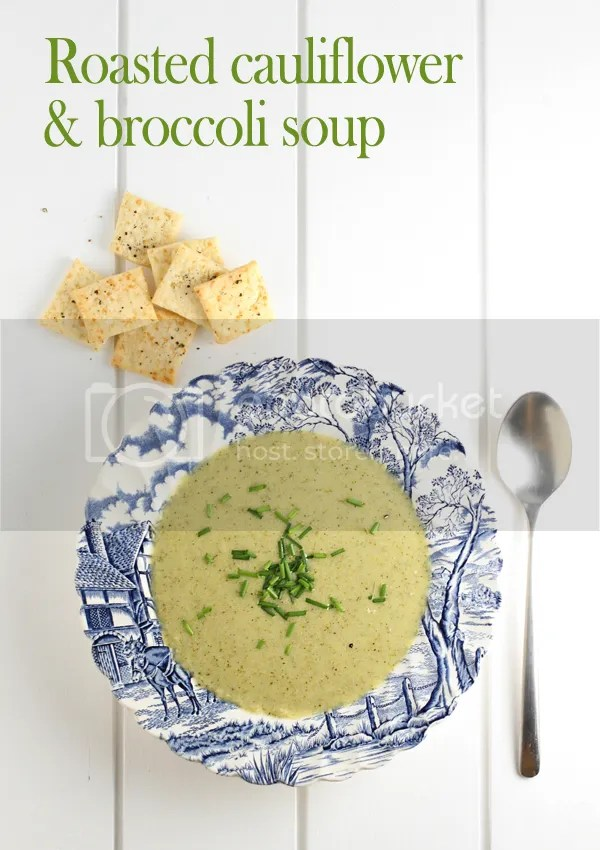 Roasted cauliflower and broccoli soup