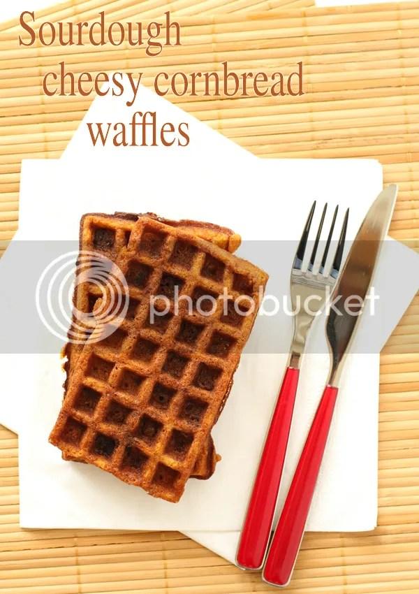 Sourdough cheesy cornbread waffles