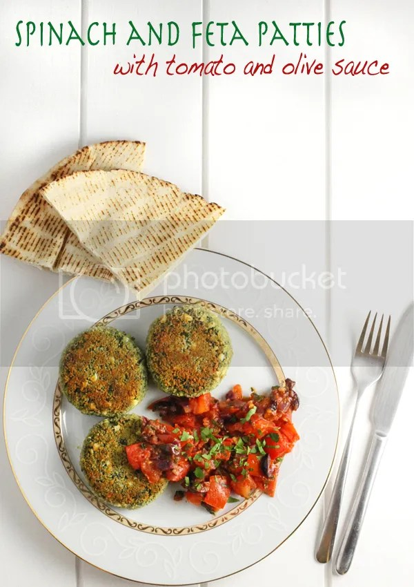 Spinach and feta patties with tomato and olive sauce