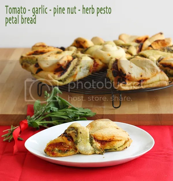 Tomato, garlic, pine nut and herb pesto petal bread