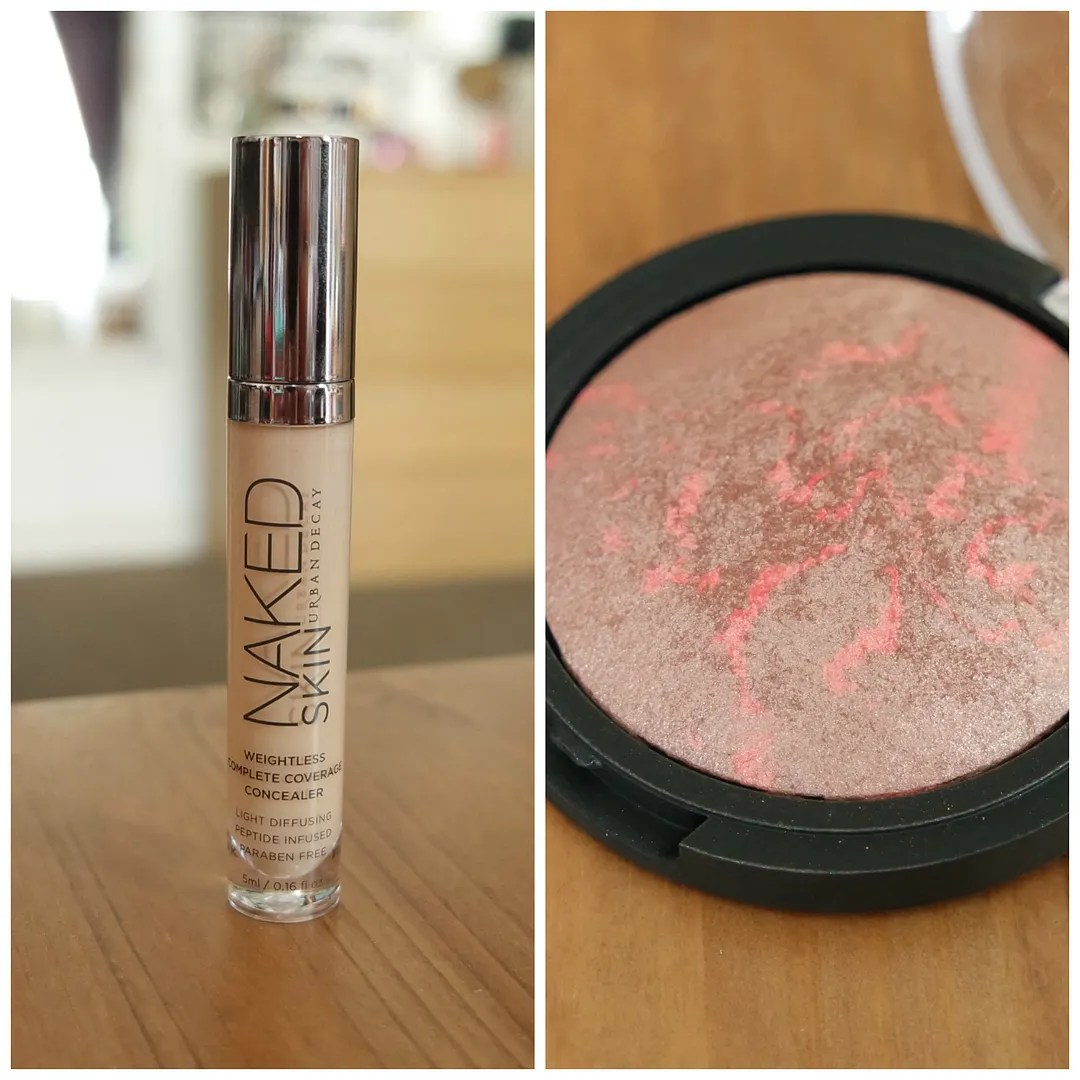 Urban Decay Naked Skin concealer ELF Baked blush Rich rose