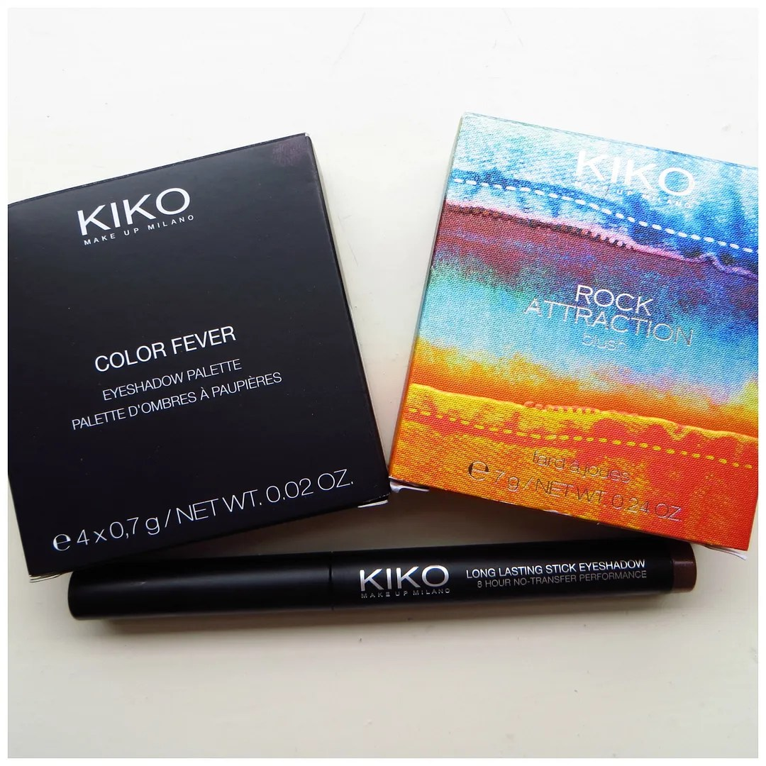 Kiko Color Fever Eyeshadow Palette 101 Kiko Rock Attraction blush in 04 Pop Apricot Kiko Long Lasting Stick Eyeshadow 05