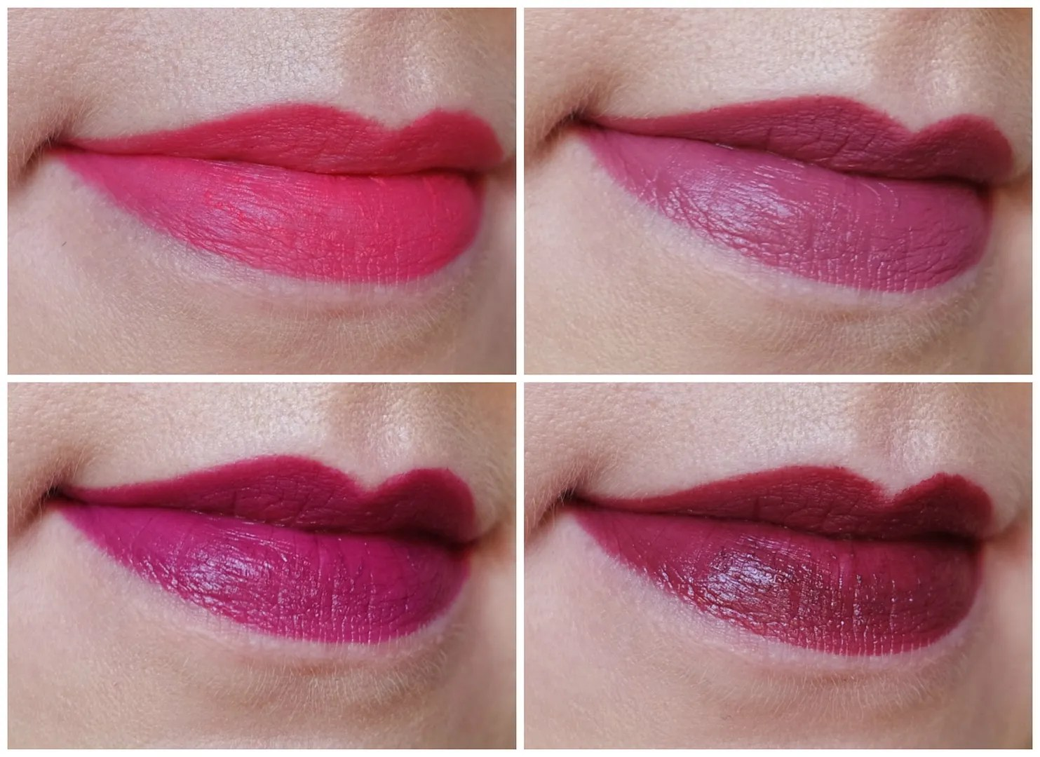 MAC lipsticks: Relentlessy Red (Retro Matte) Captive (Satin) Rebel (Satin) Darkside (Amplified)