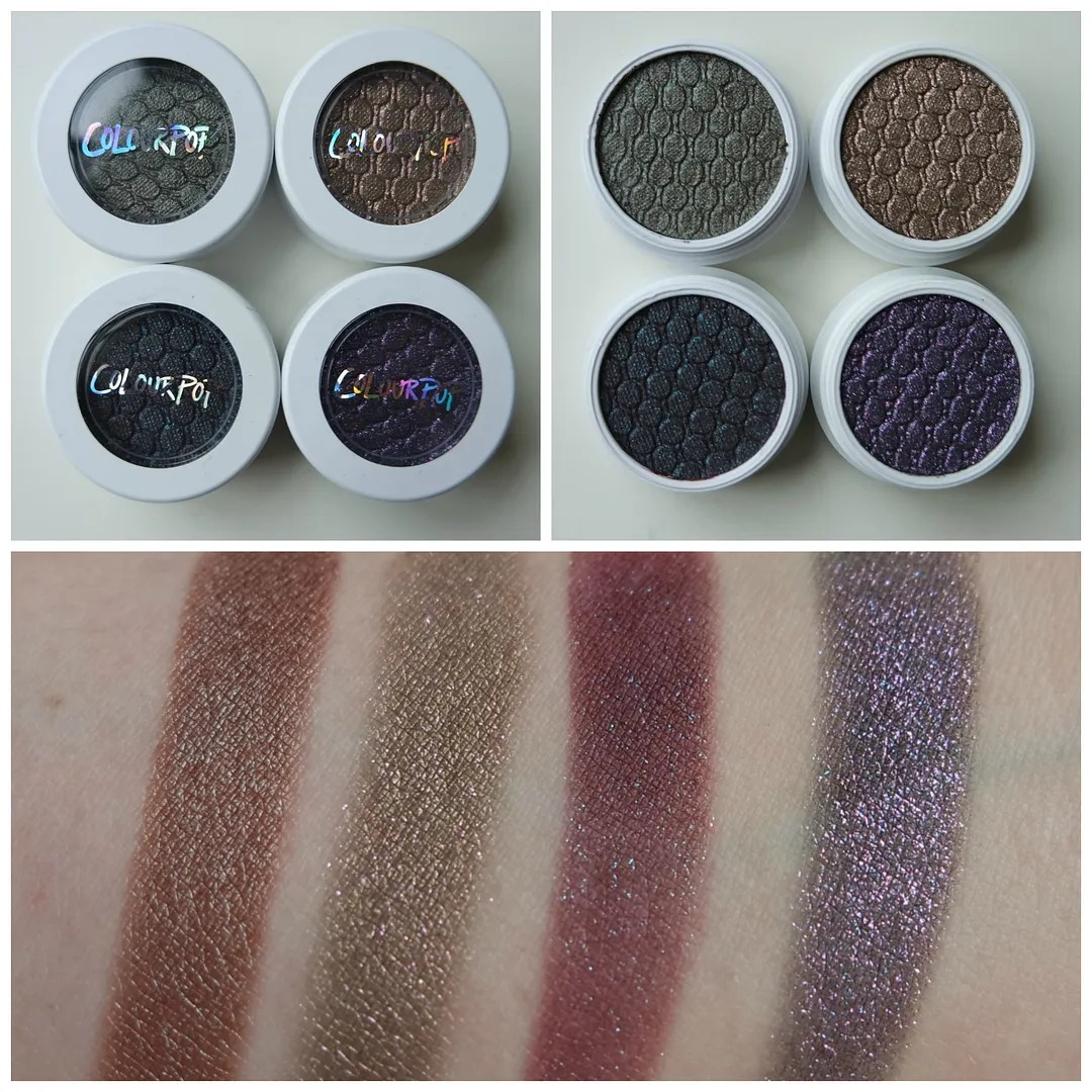Colourpop Super Shock eyeshadow Partridge, So Quiche, Bae, Dance Party