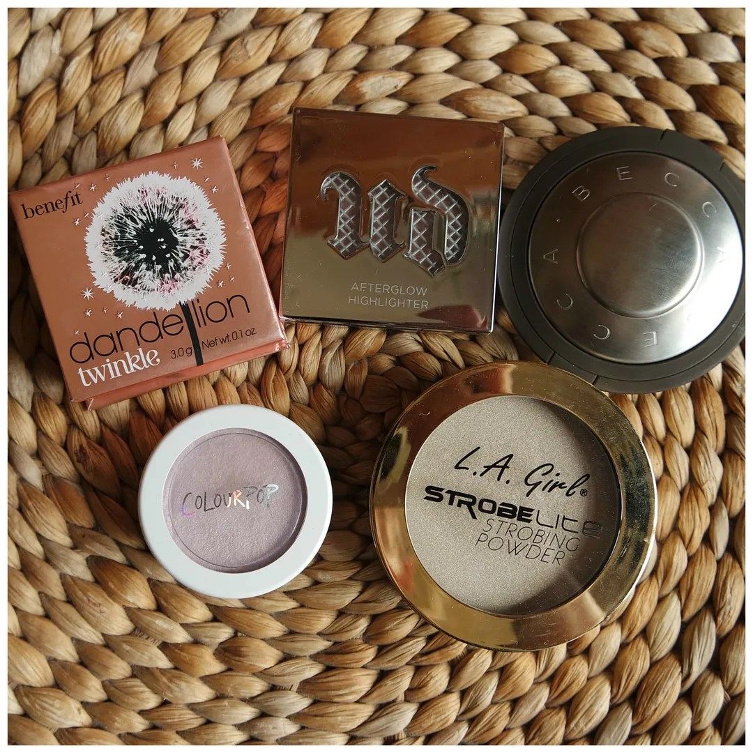 Highlighters for pale skin becca pearl benefit dandelion urban decay aura colourpop hippo la girl strobelite 110 watt