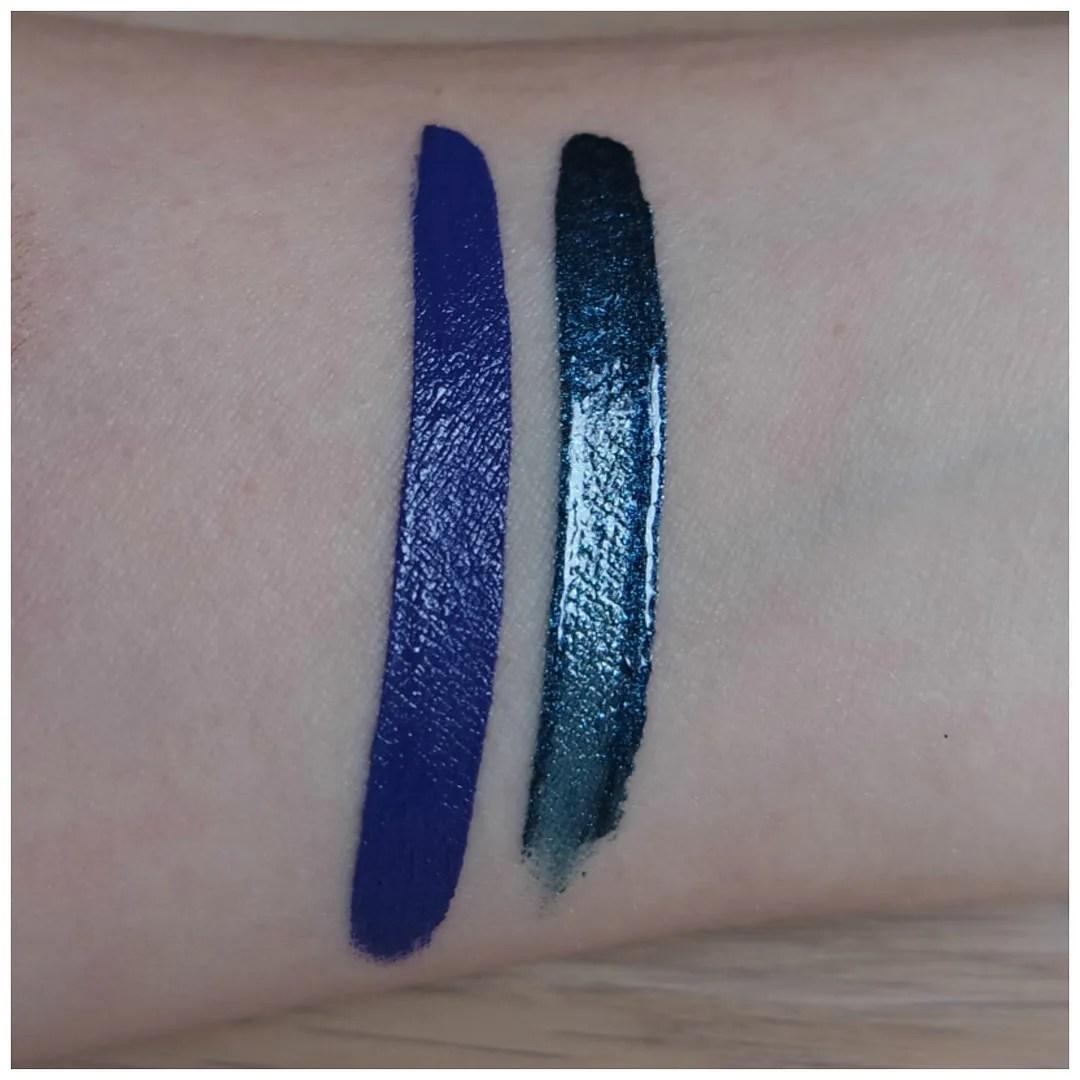 nyx blue liquid lipstick liquid suede jetset cosmic metals dark nebula review swatch