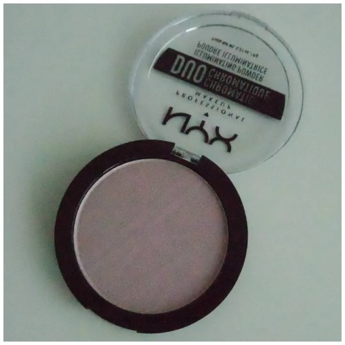 nyx duochromatic highlighter illuminating powder review swatch lavender steel