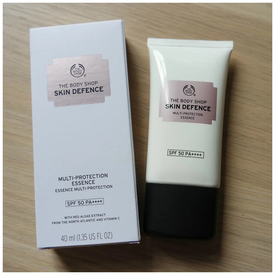 the body shop skin defence multi-protection essence spf 50 review swatch