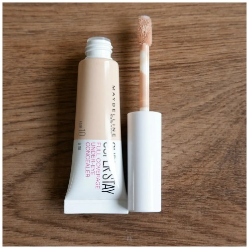 maybelline superstay full coverage under-eye concealer 10 fair review swatch makeup look