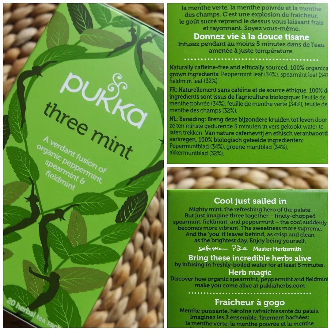 Pukka Three mint herbal tea (with peppermint, spearmint & fieldmint)