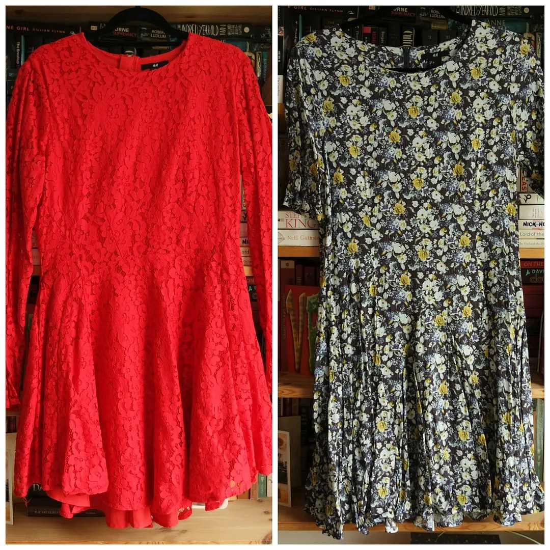 H&M Red Circle skirt dress H&M Navy floral skater dress