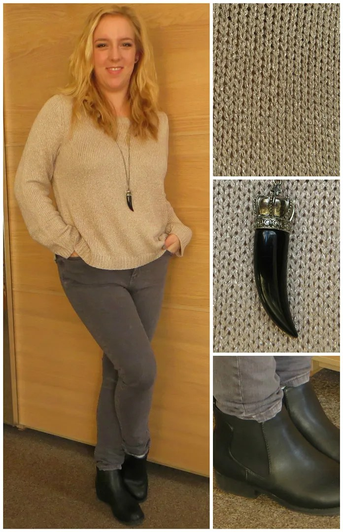 315c44cce7d Dusty rose   metallic thread sweater (H M) Grey Joni jeans (Topshop)  Lowrise Chelsea ankle boots (New Look via Asos) Tooth necklace (Six)