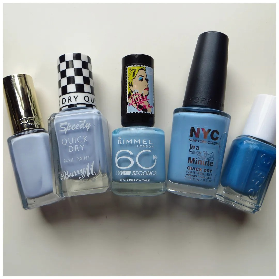 L'Oreal Color Rich Ocean Porcelaine Barry M Speedy Quick Dry Nail Paint Eat my Dust Rimmel 60 seconds 853 Pillow Talk NYC In a New York Minute Quick Dry nail polish 325 Raindrop Essie Coat Azure