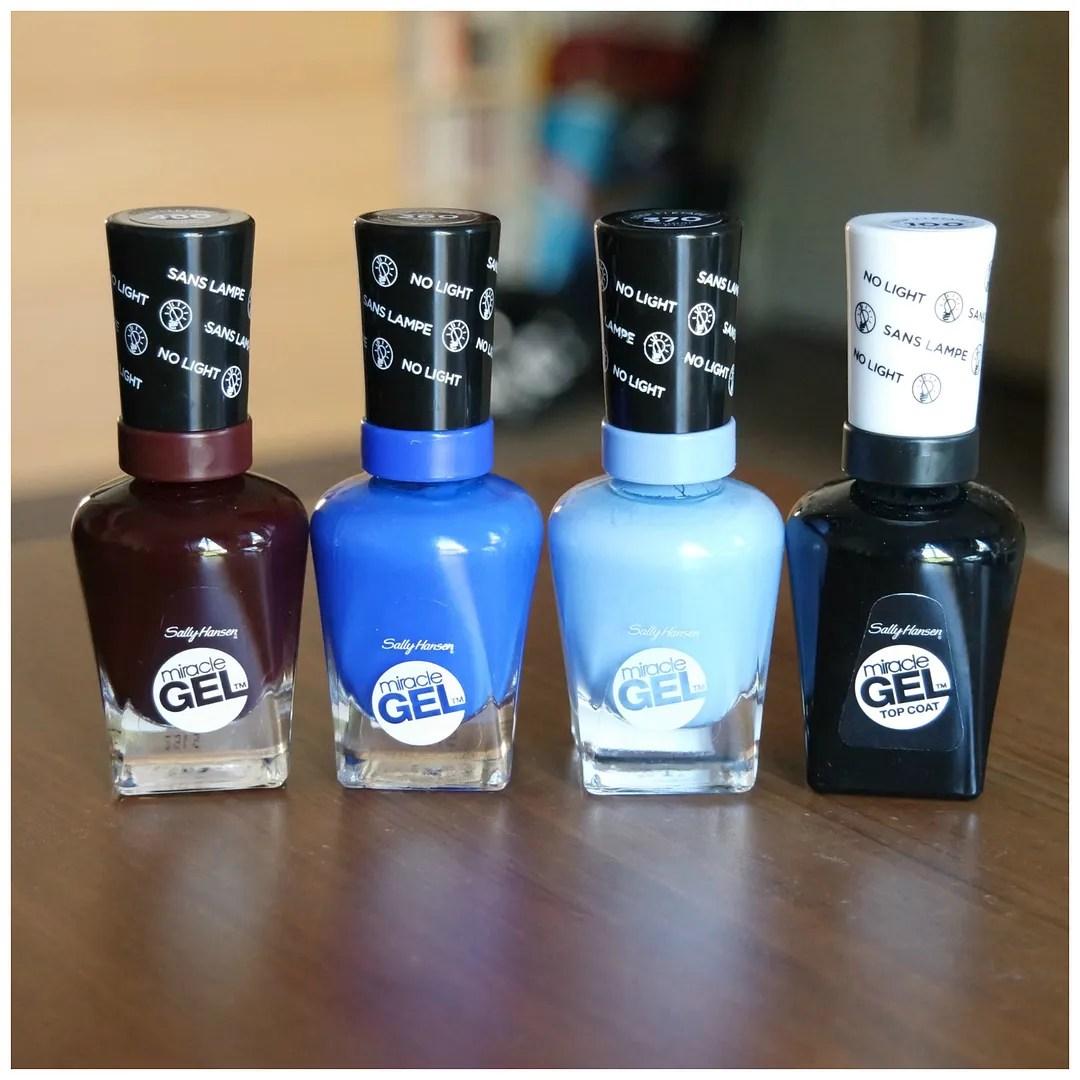 Sally Hansen Miracle Gel Nails Wine Stock, Tidal Wave, Sugar Fix & Top Coat