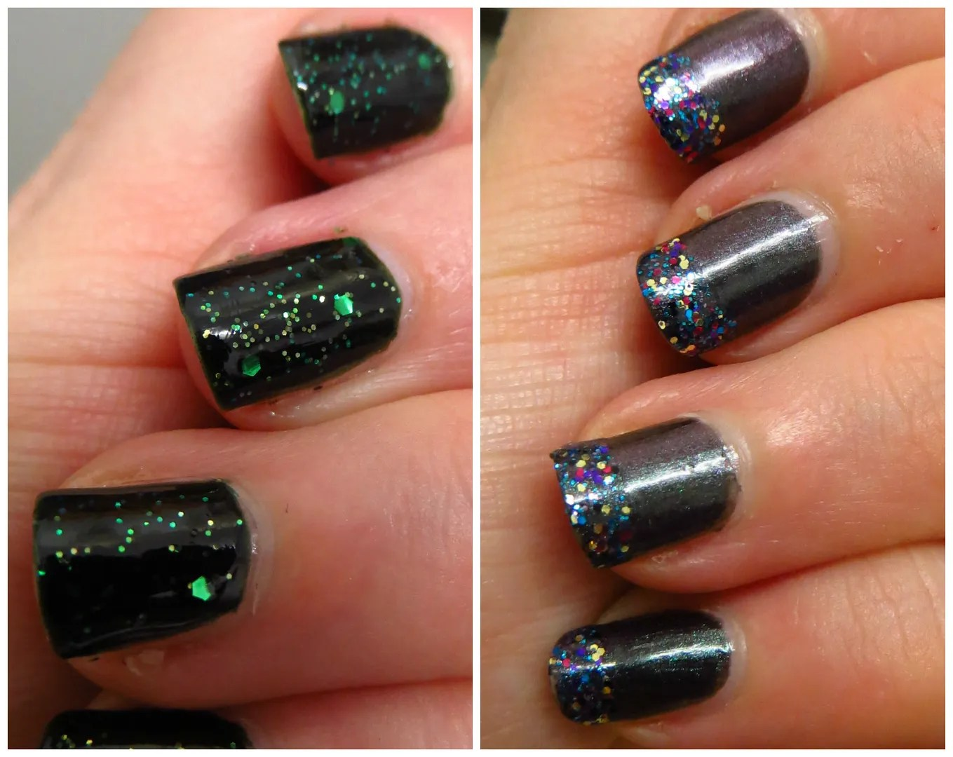 dark glitter nail polish look – Floating in dreams