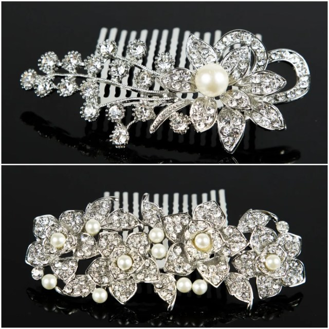 details about 2 pieces vintage hair comb bridal wedding crystal rhinestone hair accessories