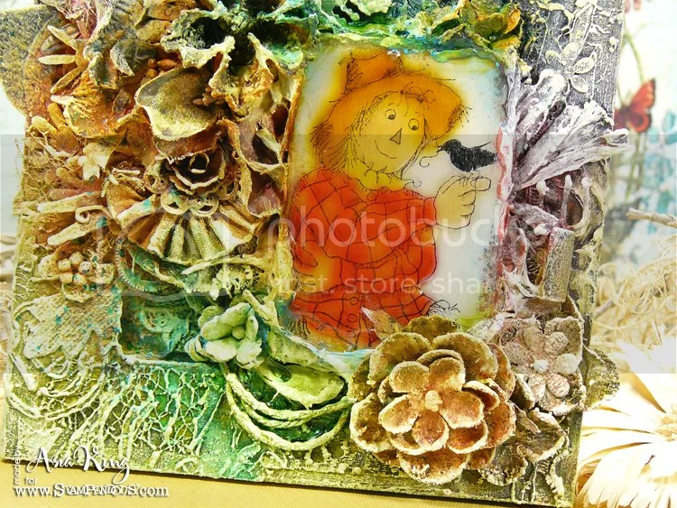 Prima flowers May Arts ribbon altered mixed media frame