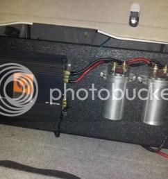 3500 watt quantum mono block class d amp with two power capacitors and 4 gauge wires  [ 1024 x 768 Pixel ]