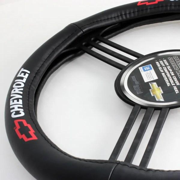 Chevrolet Logo Black Leather Genuine Steering Wheel Cover