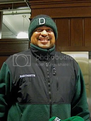 Assistant Men's Basketball Coach at Dartmouth College, in Hanover, New Hampshire, Dean Christian is psyched abouth his toasty new felt hat, with custom Dartmouth embroidery worked freehand by fiber artist, Carrie Cahill Mulligan, of Canaan, New Hampshire.