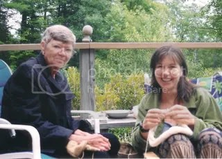 Sharon Lee Cahill knits away the 4th of July, 2004, in New Boston, New Hampshire, with her protegee' daughter, Carrie Cahill Mulligan.