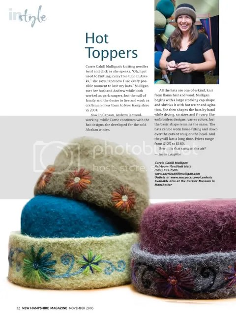 CCM Hats In Style in NH Magazine