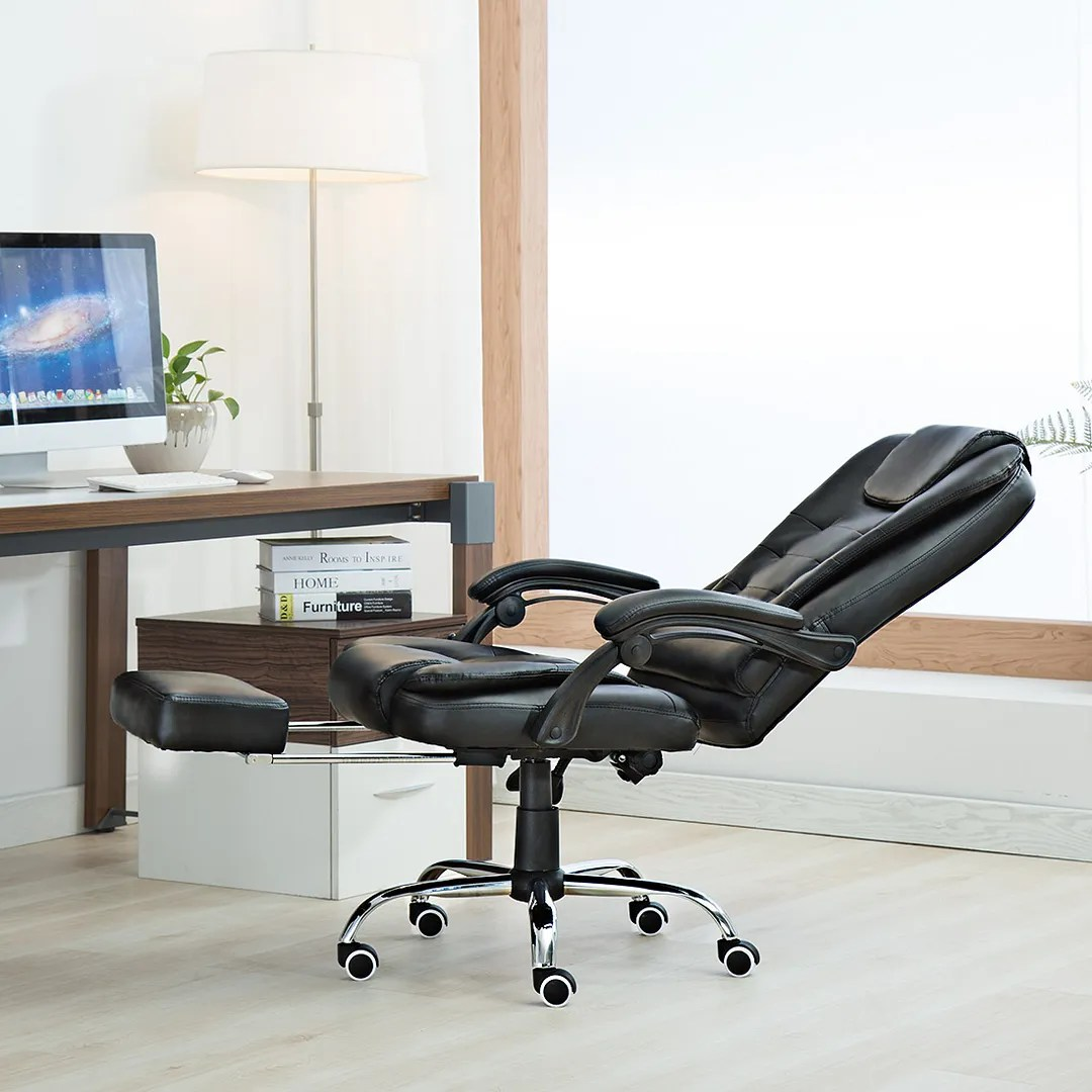reclining office chair with footrest uk leather desk chairs recliner home executive gaming high