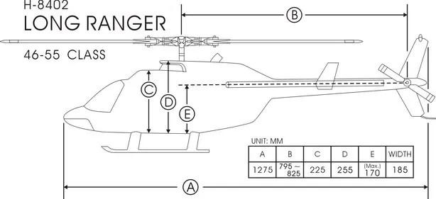 FUNKEY Scale Fuselage Long Ranger .50 (600) size BLUE