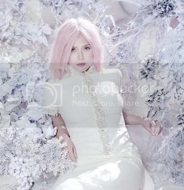 OLSENS ANONYMOUS ELIZABETH OLSEN STYLE FASHION BLOG BULLETT MAGAZINE EDITORIAL PASTEL COTTON CANDY PINK HAIR GOWNS WINTER METALLIC SILVER EMBELLISHED BEAUTY  6