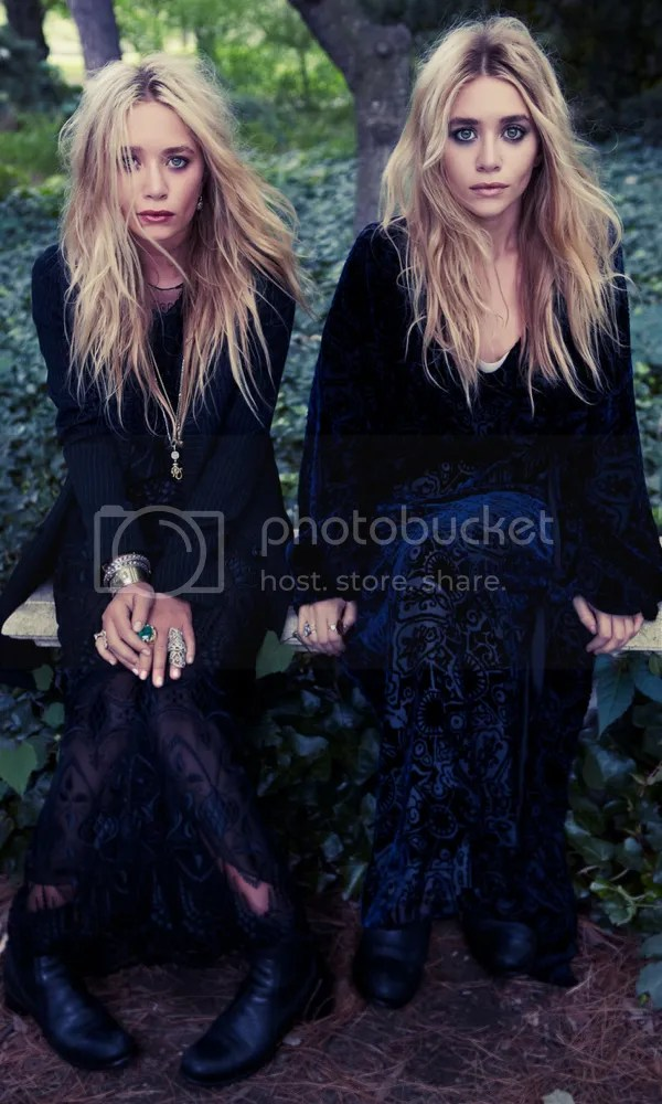 OLSENS ANONYMOUS MKA MARY KATE ASHLEY OLSEN FASHION STYLE BLOG COLOR PHOTOSHOOT INTERVIEW MAGAZINE LONG SLEEVE VELVET DRESS ORNATE GOTHIC RINGS LONG WAVY HAIR BLACK EMBROIDERED SHEER DRESS PINSTRIPE JACKET ANKLE BOOTS EMERALD RING STEVEN PAN GET THE LOOK