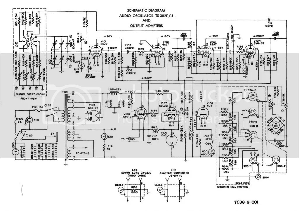 Schematic Diagram for Audio Oscillator TS-382F-U