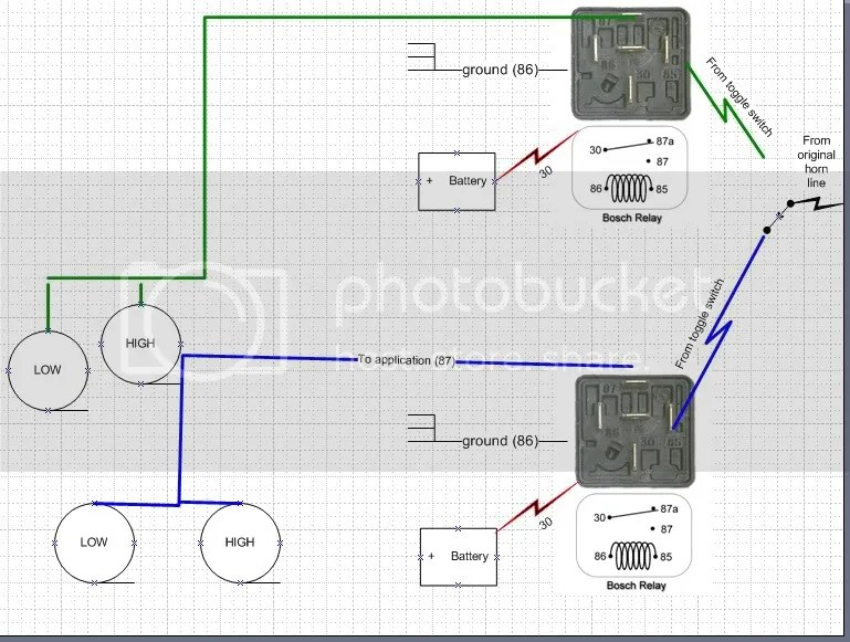 Diagram of Toggle Switch with Relays for Horns?