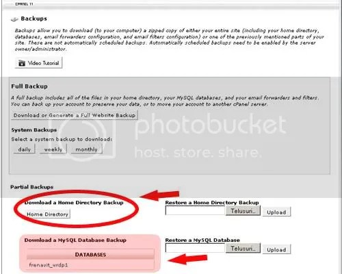 Backups home Directory N Database