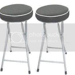 Folding Chair Kitchen Comfortable Desk Chairs Set Of 2 Black Soft Padded Round Stool