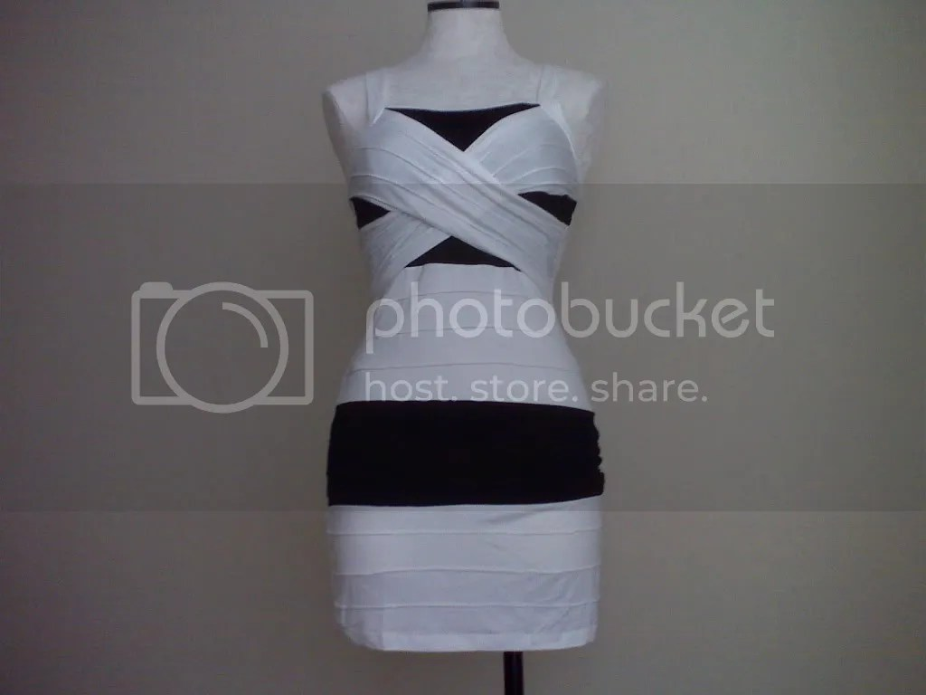 bqueen bandage dress white