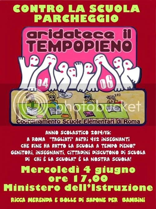 Presidio al Ministero dell'Istruzione 4 giugno 2014 contro gli infiniti tagli al tempo pieno nelle scuole elementari di Roma e Provincia