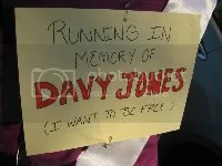 The tribute sign to Davy Jones I wore on my back during the race