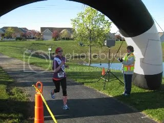 Crossing the finish line at the Bunny Hop 5K - Hoff Woods Park, Westerville, Ohio