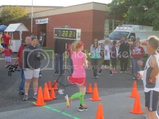 Me crossing the finish line of the Run For The Berries 5K - Starlight, Indiana