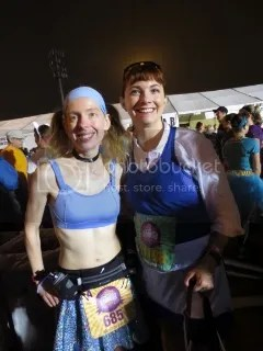 Me (as Cinderella) and Indy (as Belle) at the Disney Princess Half Marathon