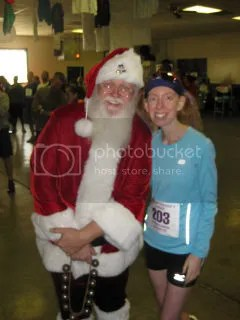 Me with Santa at the awards ceremony for the Fast Freddie Five Mile Foot Feast