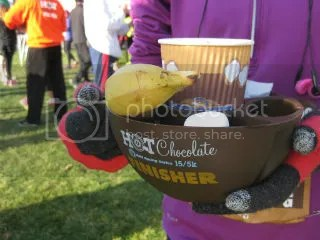 My Finisher's Mug for the Hot Chocolate 15K/5K with all the goodies included