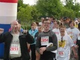 Michael, Harold and Laura, the rest of the team from the office, starting at the Throo The Zoo 5K - Louisville, Kentucky