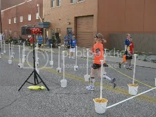 Crossing the finish of the Shamrock 2 Miler - Downtown Jeffersonville, Indiana