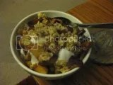 Breakfast Parfait with caramelized apples, vanilla Greek yogurt, and KIND Healthy Grains Maple Walnut Clusters with Chia and Quinoa