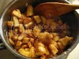 Diced apples and seasonings warming in pan...soon to change into apple compote