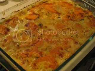 Scalloped Russet Potato and Yam Gratin with Fresh Herbs