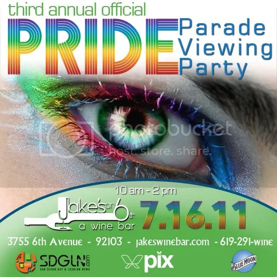 SDPIX Presents: The 3rd Annual Official Pride Parade Viewing Party at Jakes on 6th!