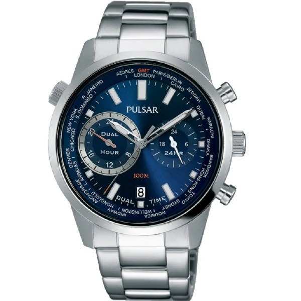 Pulsar World Time Stainless Steel Bracelet Gents Watch Blue Black