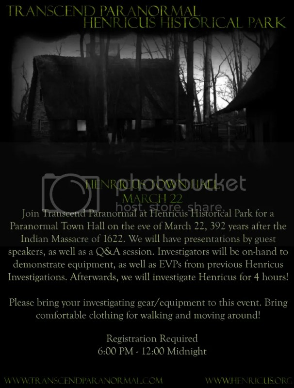 Transcend Paranormal: Henricus Town Hall 2014